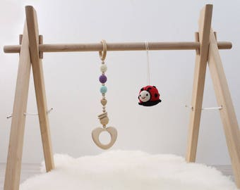 Wooden baby gym frame, foldable play gym, activity gym gender neutral, hanging bar, activity arch,  wood, non toxic, organic