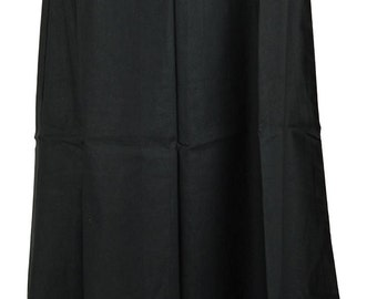 Black Fabric Readymade 100% Pure Cotton Petticoat for Saree Indian Craft Clothing Women Solid Skirt Sari
