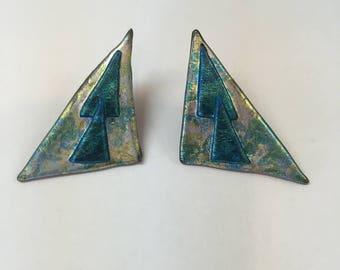 Vintage Handmade 1980's Pierced Earrings Blue Green Silver  Faux Leather Triangles Vintage Pierced Earrings Big Earrings Bold Earrings Gift