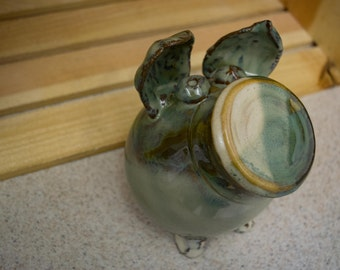 Pottery Piggy Bank Green and Cream Tones