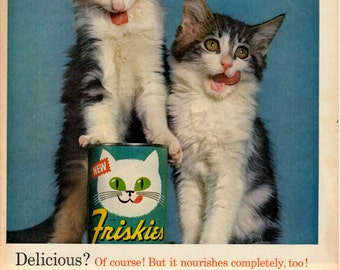 1963 Friskies Cat food vintage magazine ad this one is cute wall decor collectible art. (1701 LG)