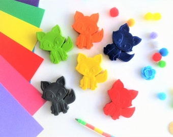 6 Fox Shaped Crayons, Handmade Novelty Wax Crayons, Woodland animals kids gifts, Woodland Party, party bag fillers & favours, Easter gifts