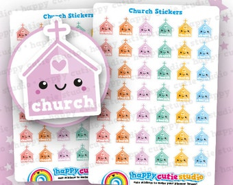 42 Cute Church Planner Stickers, Filofax, Erin Condren, Happy Planner,  Kawaii, Cute Sticker, UK