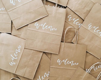 Custom Gift Bags, Wedding Welcome Bags, Wedding Favors, Personalized Gift Bags, Hand Lettered, Calligraphy, Kraft Bags