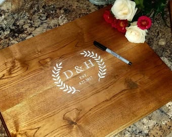 Engraved Custom Wood Wedding Guest Book Alternative.Engraved Wood guest board Signature Board Wood sign guest book Rustic Wood Wedding decor