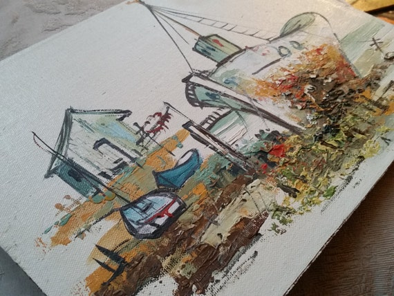 "Original Oil Impasto Texture Painting - Ship in Seaside Harbor | Vintage ""Masterpiece Originals"" - Taiwanese Artist | Boats at Dock | 9 x 12"