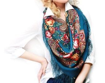 """Russian Shawl Pavlovo Posad Wool 35"""" Folk Scarf 100% Silk fringes 89cm Sea Blue Green Yellow Red"""