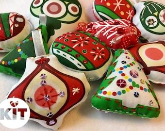 MIYO Christmas Ornament Sewing Kit - Make 6 Snowy Branch Ornaments!