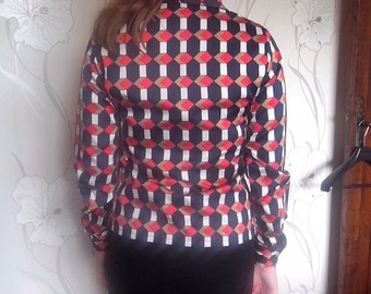 Women's vintage with squares and rhombuses camel, red white and blue shirt