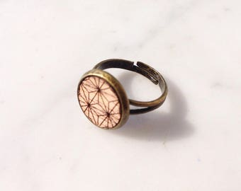 Floral geometric etched wood ring
