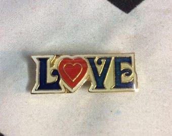 Love enamel pin with Heart