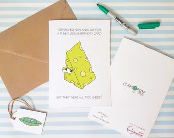 Funny Vegan Birthday Card - Cheesy Puns - Vegan Jokes - Alternative Happy Birthday Card for Son Daughter Niece Nephew Friend - Charity Card