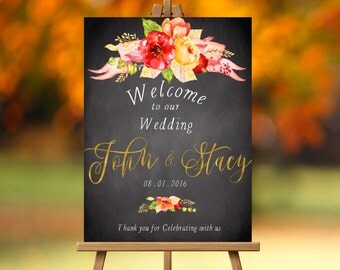Fall Wedding Welcome Sign-PRINTABLE, Autumn Wedding, Fall wedding, October Wedding, November Wedding