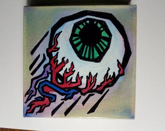 "Flying Eyeballs! - 6""x6"" canvas paintings"