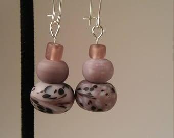 Silver Kidney Wire Earrings with Purple Glass Beads - purple lampwork glass bead silver kidney wire earrings mother's mom dangle
