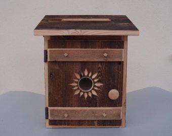 Mail box off wood weathered rustic motif Sun
