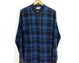 Polo RALPH LAUREN Men Small Shirt 90's Vintage Hip Hop Rl 67 Rap Ralph Lauren Shirt Plaid Checkered Blue Longsleeve T Shirt Size S