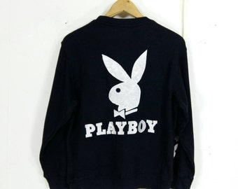 PLAYBOY Sweatshirts Women Medium Streetwear Jumper Playboy Big Logo Pullover Crewneck Sweater Black Playboy Girl Sweater Size M