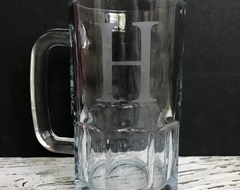 Custom Etched Glass // Etched Beer Stein // Gift for Him // Groomsmen Gifts