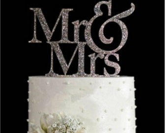 Zilver glitter Mr and Mrs taarttopper