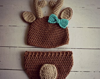 Crochet Deer Hat and Diaper Cover, Baby Girl Deer Hat, Deer Hat, Crochet Baby Hat, Crochet Deer Hat, Crochet Deer Photo Prop, Baby Girl Hat