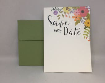 Floral Save The Date Invitations (Set of 10)