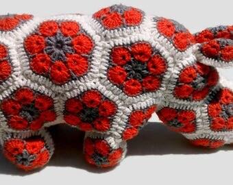 Rhino stuffed animal, African Flower Rhino, African Flower animal, Rhino plush, Crochet rhino, Rhino toys, Amigurumi crochet animals