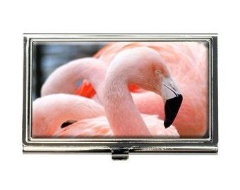 Proud Pink Flamingo Business Credit Card Holder Case