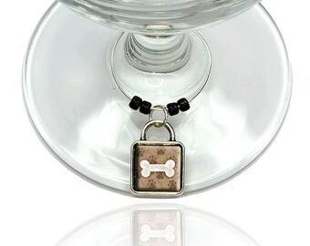 Dog Bone Wine Glass Drink Marker Charm Ring