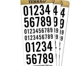 Black Sans Serif Numbers Bold Removable Matte Sticker Sheets Set