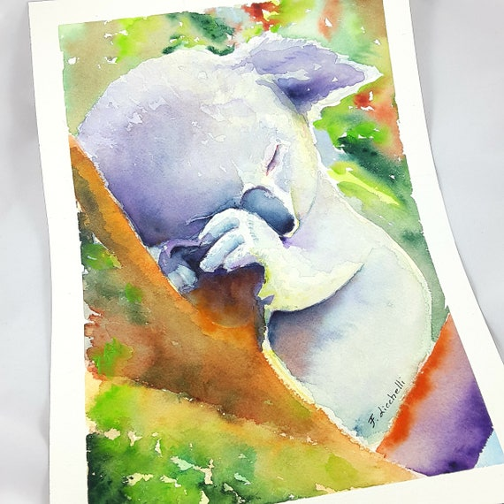 Koala, original watercolor by Francesca Licchelli, ooak, gift idea for baptism or birth, birthday, home decoration, child's bedroom, nursery