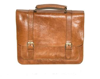 Tan Leather Laptop Messenger Bag | Work Satchel