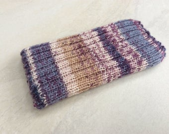 Knitted iPhone sock for SE,  4, 4S, 5, 5S, smartphone cover case, pink, purple and blue