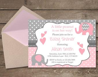 Elephant Baby Shower Invitation, It's a Girl, Elephant, Chevron, Pink, Little Peanut, Baby Shower Invitation, Girl Baby Shower