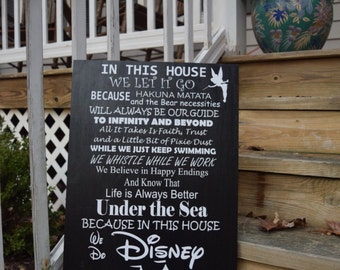 In this house we do disney sign, Disney lovers, Disney family, Disney gift, whistle while you work, hakuna matata, we let it go Disney theme
