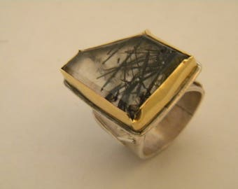 handcrafted contemporary silver gold 18k rutilated quarz ring