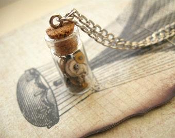 Steampunk bottle necklace Steampunk bottle pendant Watch necklace Watch Parts pendant Glas vial jewelry Bottle necklace Glass bottle pendant