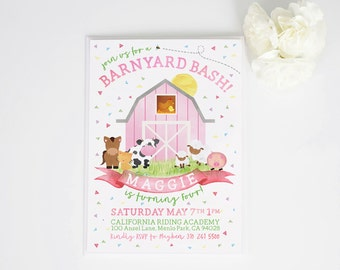 Girls Barnyard Bash Watercolor Animal Scene Birthday Invite | invitation