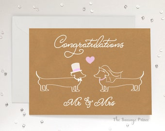 Congratulations Mr & Mrs Dachshund Dog A5 Greeting Card