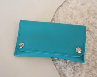 Turquoise leather tobacco pouch