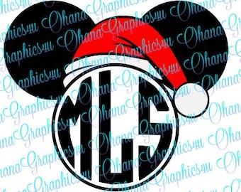 Mickey Mouse Santa Hat Monogram SVG