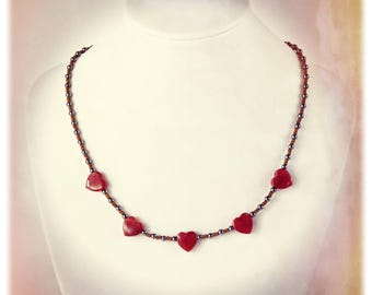 "JEWEL CHUNKS Necklace, Carnelian Hearts & Hematite ""Sweet Valentine""  OOAK"