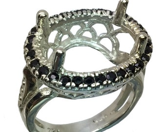 18x13mm Oval Semimount Ring Black Onyx.