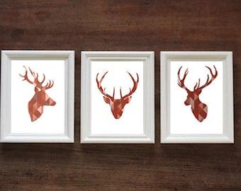 Geometric Red Stag Head Set of 3   Stags / Deer   PRINT