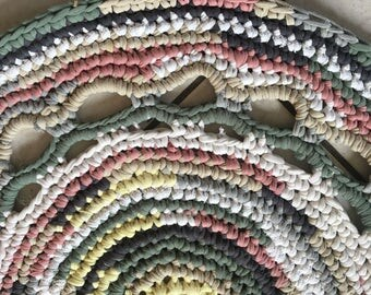 Greens, pinks, yellow floor mat. Handmade crocheted rag rug, recycled tshirts.