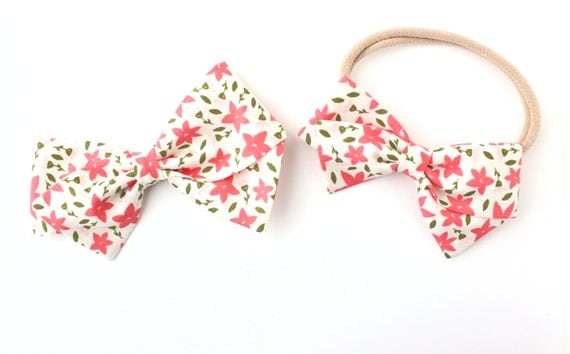Baby Girl, Toddler, Girls Fabric Bow, Newborn, Hand tied bow, Elizabeth