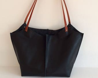 Black Leather Tote, Black Leather Shopper Tote Bag
