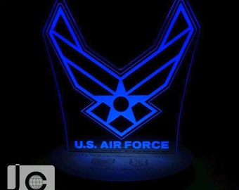 Custom engraved LED illuminated keepsake for those personnel having served in the Army, Navy, Air Force, Marines, or Coast Guard.