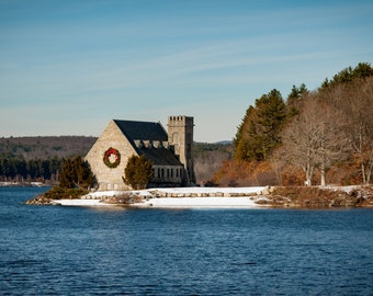 Little Stone Church Print, Photography, Landscape, Chapel, Massachusetts photo, West Boylston, Wachusett Reservoir