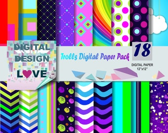 Trolls Digital paper pack Trolls Digital Paper Trolls scrapbook papers Trolls background Trolls digital papers Trolls PRINTABLE Trolls paper